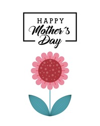 happy mother's day card with flower icon over white background. colorful design. vector illustration