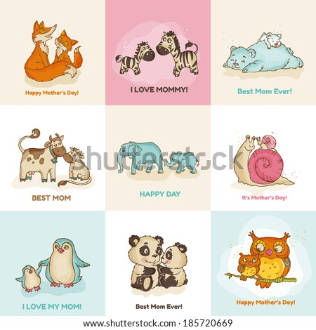 Happy Mother\'s Day Cards - with cute animals - in vector