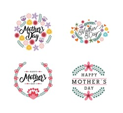 happy mother's day cards with flowers over white background. colorful design. vector illustration