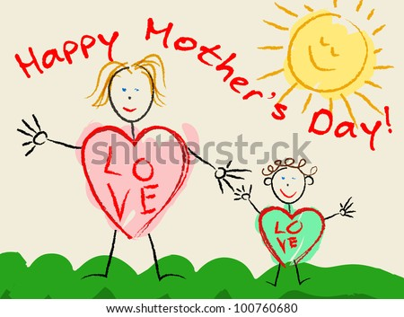 Happy mother's day children's draw, vector illustration