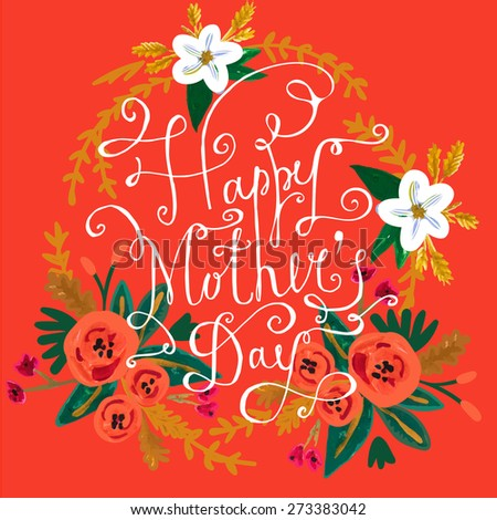 Happy Mother's Day floral greeting. Watercolor floral background. - stock vector