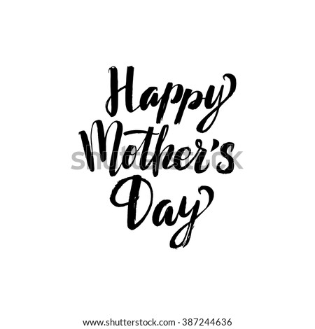 Happy Mother\'s Day Greeting Card. Black Calligraphy Inscription.