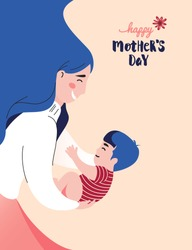 Happy Mother`s Day Greeting Card. Vector Illustration Of Mother Holding Baby Son In Arms.