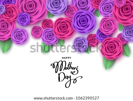 Happy mother's day greeting card with pink and purple roses, lettering.  Flowers for banners,  posters, voucher discount, sale advertisement template.  Floral background. Vector.