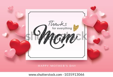 Happy Mother's Day greeting design with 3D hearts background and text space #1035913066