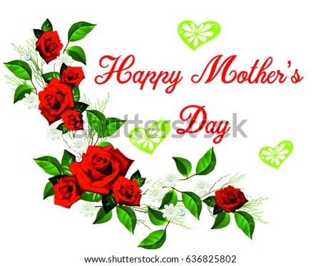 HAPPY MOTHERS DAY Hand Drawn Poster In Watercolor With Roses Hearts And Flower