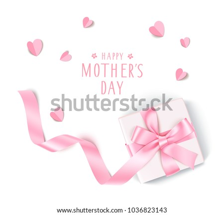 Stock Photo Happy Mother's Day. Holiday template design with decorative gift box, pink bow long ribbon and paper hearts. Top view. Vector illustration