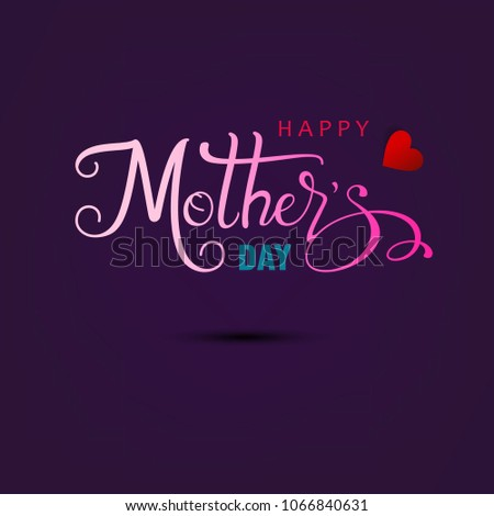 Happy mother's day layout design with roses, lettering, ribbon, frame, dotted background. Vector illustration.  Best mom / mum ever cute feminine design for menu, flyer, card, invitation.  #1066840631