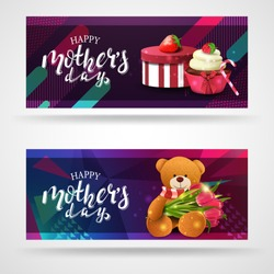 Happy mother's day, modern congratulations postcard template with gift, strawberry, cupcake and Teddy bear with a bouquet of tulips