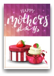 Happy mother's day, modern pink congratulations postcard template with gift, strawberry and cupcake