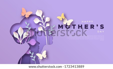 Happy Mother's Day paper cut card template background of mom with child son and colorful spring nature. Modern 3D papercut decoration for mother gift or women holiday.