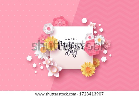 Happy Mother's Day paper cut greeting card template of frame sign with beautiful pink papercut flower and butterfly decoration.