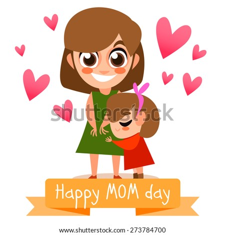 Happy mother\'s day postcard with people. vector illustration. Baby and mother together. Cute characters. Family together. Mother and baby hugs.