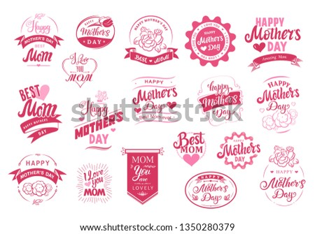 Happy Mother's Day set. Emblems logo badge font composition with hand drawn calligraphy hearts hairband and flowers. Lettering design for banners poster or t-shirt. Typographic symbol