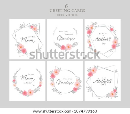 Happy Mother's Day Set. Greeting cards for Mother's Day. Happy Mother's Day typography vector design for greeting cards and poster. Design template celebration. Vector illustration.