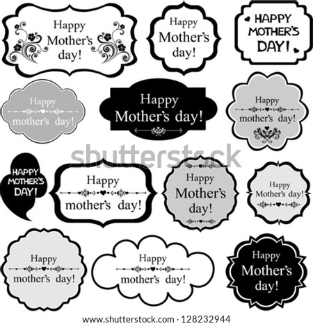 Happy Mother's Day! Set Retro colorful Tag. Vector Illustration