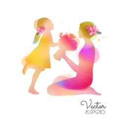 Happy mother's day. Side view of Child daughter congratulates mom and gives her flowers  silhouette plus abstract watercolor painted. Digital art painting. Vector illustration