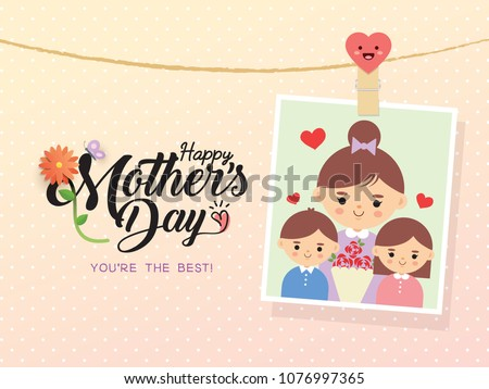 Happy Mother's Day template design. Photo of cartoon mother with daughter & son. Vector photo frame with pin & mother's day greetings lettering decorated with flower & butterfly.