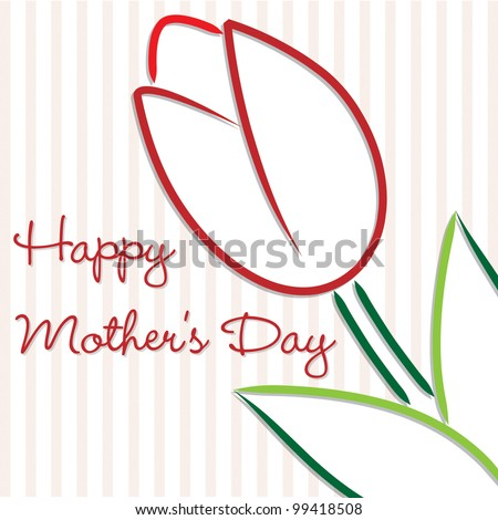Happy Mother's Day tulip card in vector format. - stock vector