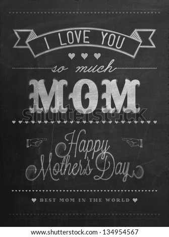 Happy Mother's Day Typographical Background On Blackboard With Chalk