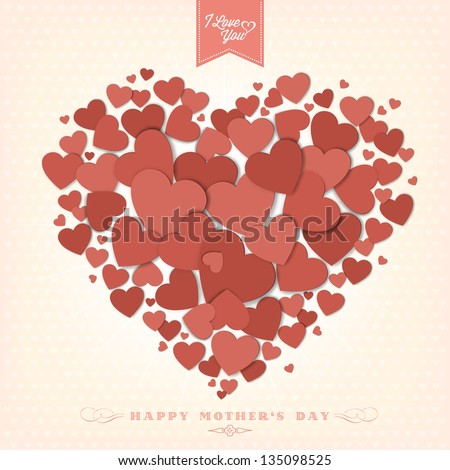 Happy Mother\'s Day Typographical Background With Hearts