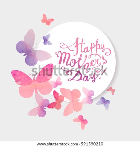 Happy Mother's Day Vector congratulation card with pink watercolor butterflies