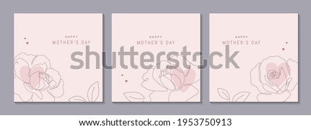 Happy Mother's Day vector greeting cards set with beautiful flowers and hearts. Rose single line drawing with on pink background. One line minimalist style illustration for banner