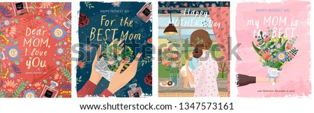 Happy mother's day! Vector illustrations for a cute cover, poster, banner or card for the holiday moms