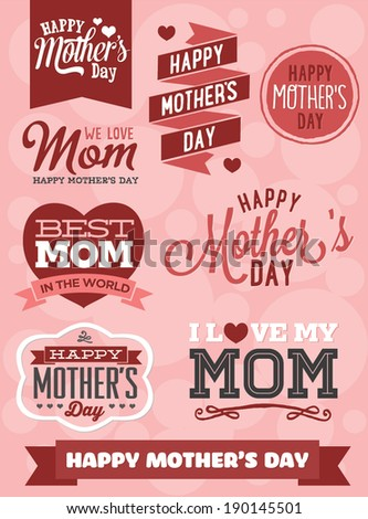 Happy mother 39 s day vector set best mom in the world i for Best love pic in the world