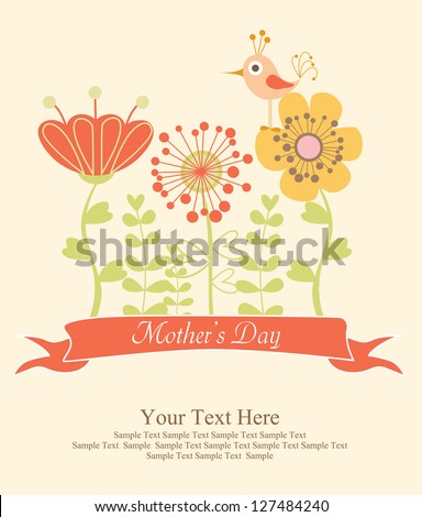 happy mothers day card design. vector illustration