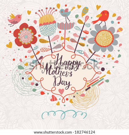 Happy mothers day card in cartoon style. Bright spring concept illustration with flowers, birds and hearts in vector - stock vector