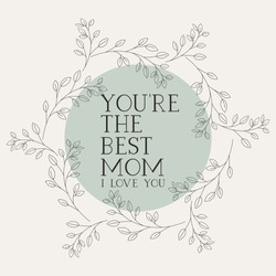 happy mothers day card with herbs circular frame