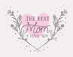happy mothers day card with herbs heart frame
