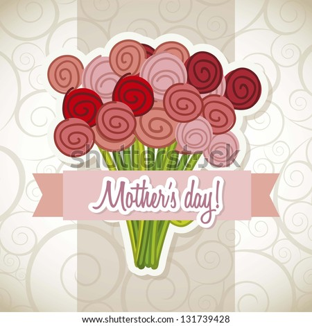 happy mothers day card with roses vector illustration