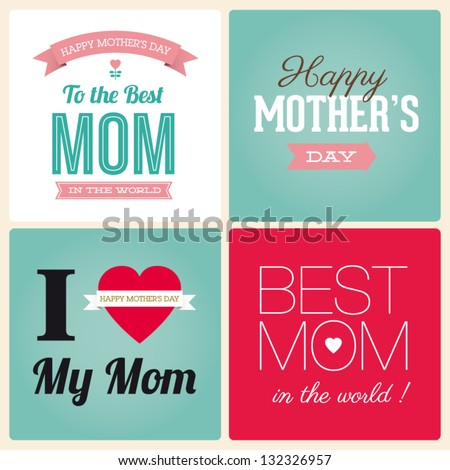 Happy mothers day cards vintage retro type font