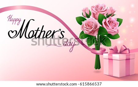Happy Mothers Day. Gift box and bouquet of pink roses with ribbon. Light pink greeting background.