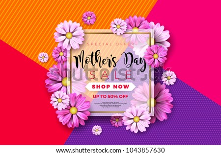 Happy Mothers Day Greeting card design with flower and typographic elements on abstract background. Vector Celebration Illustration template for banner, flyer, invitation, brochure, poster. #1043857630
