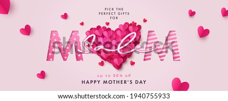 Happy Mothers Day Sale banner. Holiday background with big heart made of pink and red Origami Hearts on soft pink background. Modern design for poster, flyer, greeting card, header for website