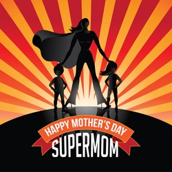 Happy Mothers Day Supermom burst EPS 10 vector royalty free stock illustration