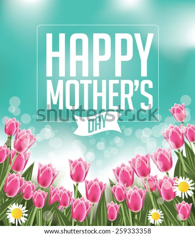 Happy Mothers Day tulips design EPS 10 vector royalty free stock illustration for greeting card, ad, promotion, poster, flier, blog, article, social media, marketing