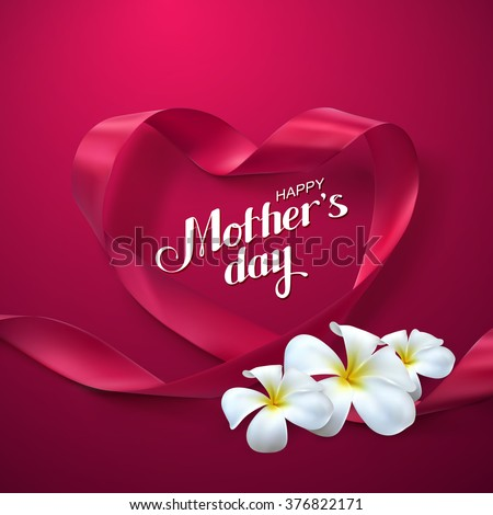 Happy Mothers Day. Vector Festive Holiday Illustration With Lettering And Pink Ribbon Heart And Flowers