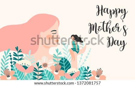 Happy Mothers Day. Vector illustration with women and child. Design element for card, poster, banner, and other use.