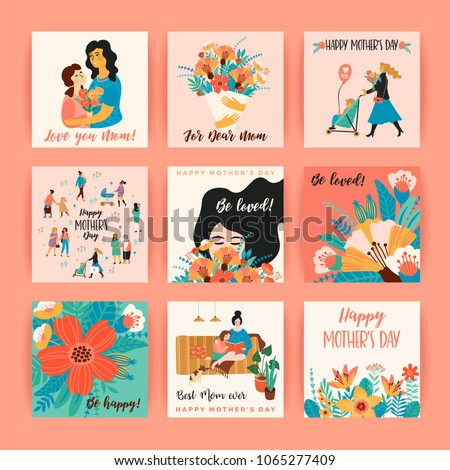 Happy Mothers Day. Vector templates. Design element for card, poster, banner, and other use