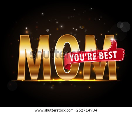 Happy Mothers's Day label, best mom lettering with thumbs up vector - eps10 #252714934