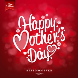 Happy Mothers's Day Typographical Design Card With Red Background
