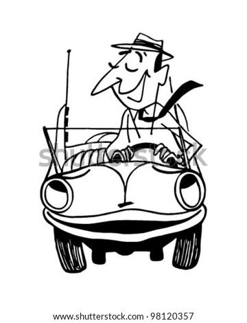 Happy Motorist 2 - Retro Clipart Illustration