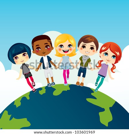 Happy multi-ethnic children holding hands on top of Earth globe