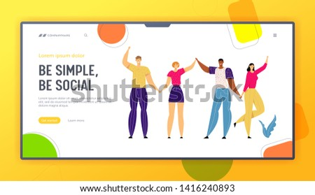 Happy Multicultural People Holding Hands Together Banner Template. Happiness, Friendship, Togetherness Concept with Group of Man and Woman Standing in Unity Landing Page. Vector flat illustration