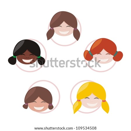 Happy multicultural school girls group with different skin and hair color. Vector illustration of teamwork, friendship, network community or globalization