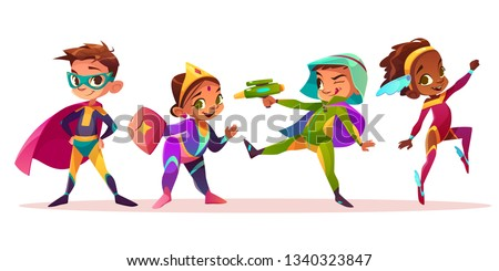 Happy multiethnic children characters playing and having fun in superheroes or fairytale costumes cartoon vector illustration isolated on white background. Preschooler boys and girls costumed party